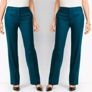 Teal Virgin Wool Flat Front Trouser Pants Pockets